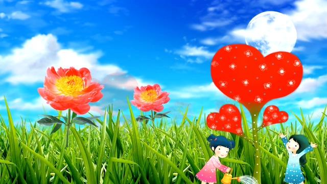 动画演绎出植树护林爱心的背景视频