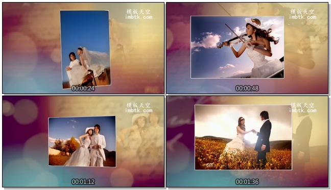 温馨唯美的光效婚礼照片会声会影模板