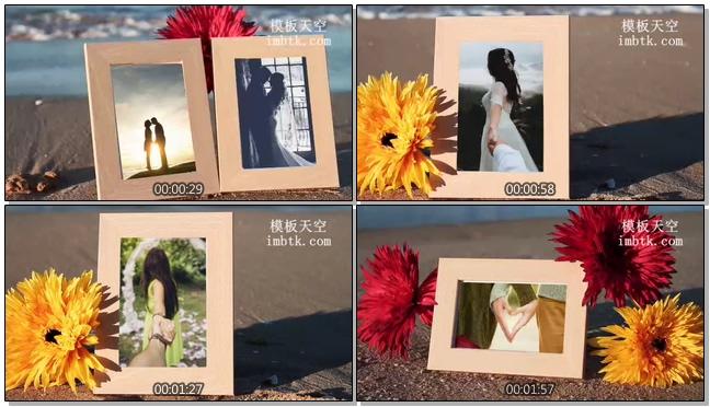 沙滩边的相框婚礼婚庆图片展示会声会影模板