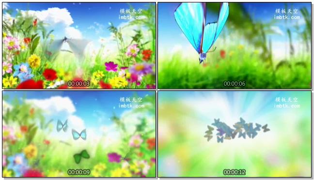 花海蝴蝶飞舞汇聚标题LOGO片头会声会影模板