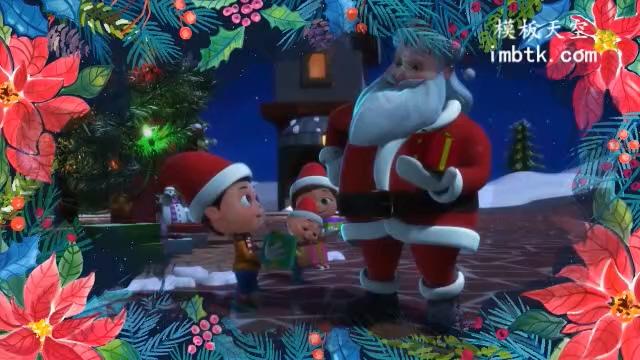 可爱的儿童卡通圣诞节快乐祝福片头会声会影模板