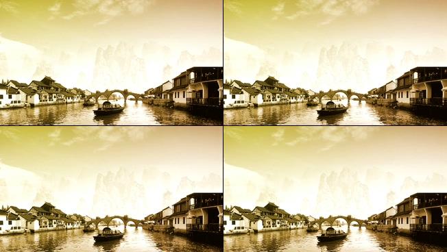 黄昏下的江南小镇水墨画视频素材