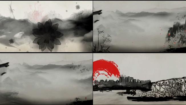水墨画出城市风景的视频素材