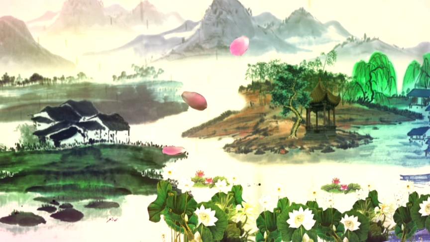 古风韵味的彩墨画视频素材