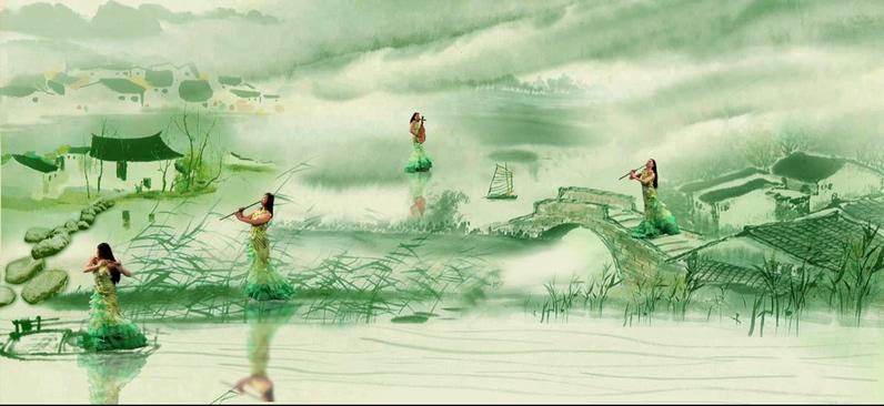 水墨画出女子奏乐的视频素材