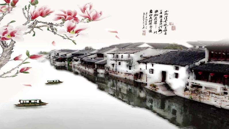 风景优美的江南水墨画视频素材