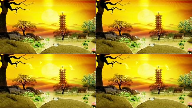 唯美梦幻的黄昏湖边景色视频素材