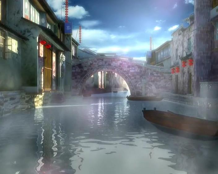 水雾缭绕的古风小镇视频素材
