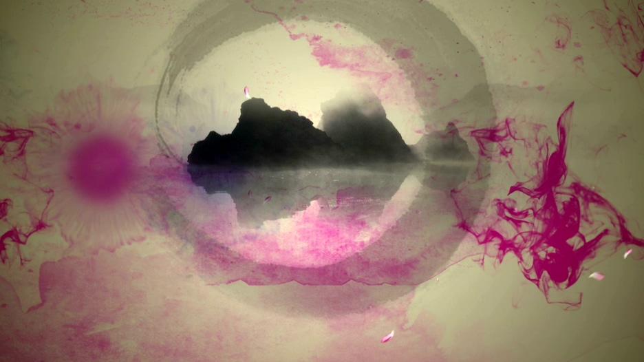 水墨晕染成山水画的视频素材