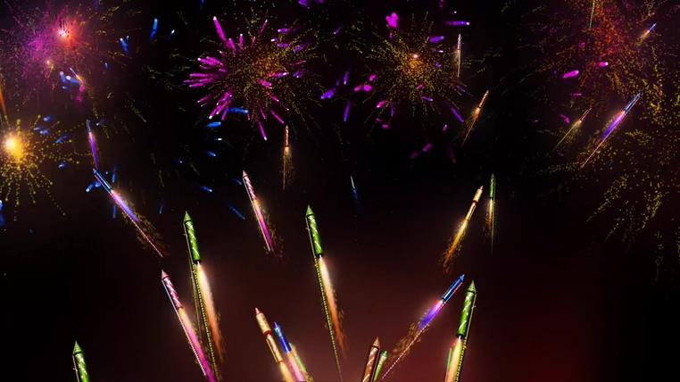 烟花像火箭般飞上星空绽放的视频素材