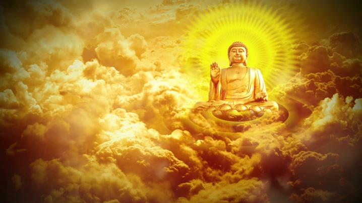 发光金色光线的佛像从远处飘落的视频素材