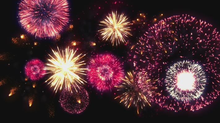迎接新年烟花盛开的视频素材
