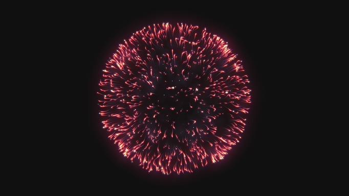 唯美的红色条状闪光烟花盛开视频素材