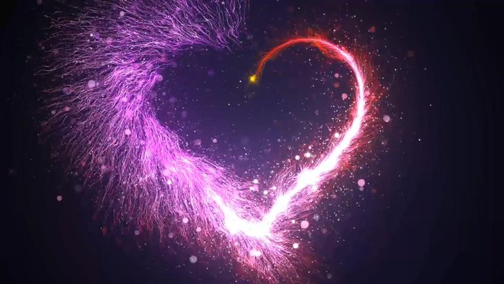 浪漫紫色粒子爱心背景视频