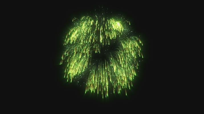 震撼大气的绿色烟花盛开视频素材