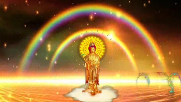 大气的金色佛祖闪光的视频素材