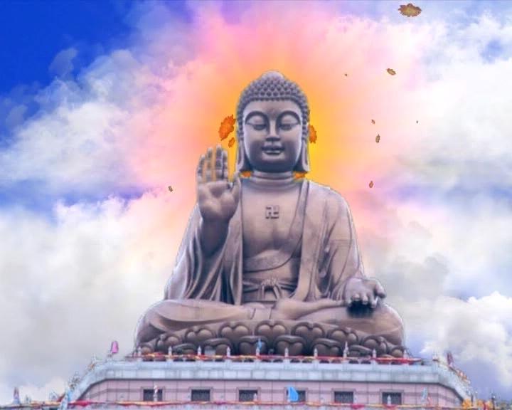 庄严神秘的佛祖开口说话的视频素材