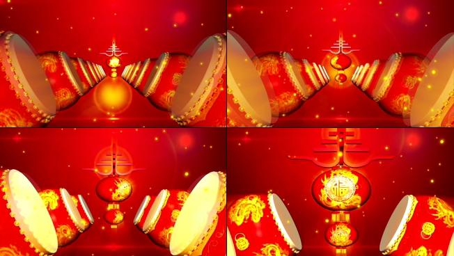 震撼大气的打鼓欢度新春的视频素材