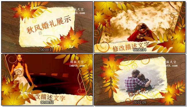 枫叶之恋爱情浪漫婚礼相册会声会影X9模板
