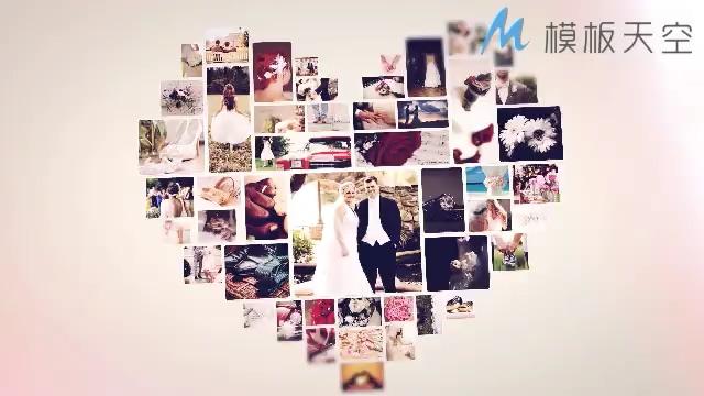 婚纱照片汇聚心形照片墙爱情相册婚礼AE模板