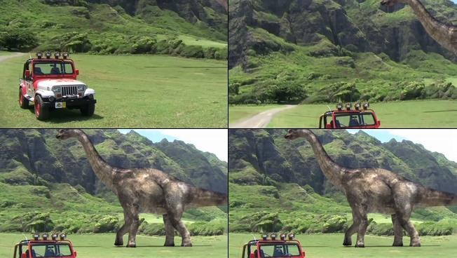 高大威猛的恐龙行走特效视频素材
