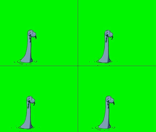 趣味动感的小恐龙水中吃草的视频素材