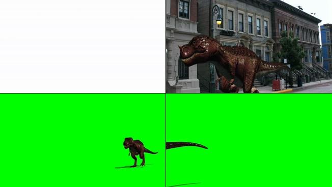 凶猛的恐龙入侵城市的视频素材
