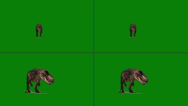 经典动作电影中的恐龙咆哮特效视频素材