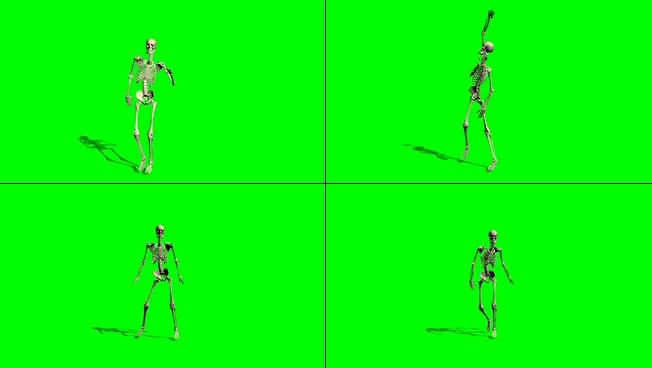 时尚动感的绿色烟雾骷髅人物跳舞的视频素材