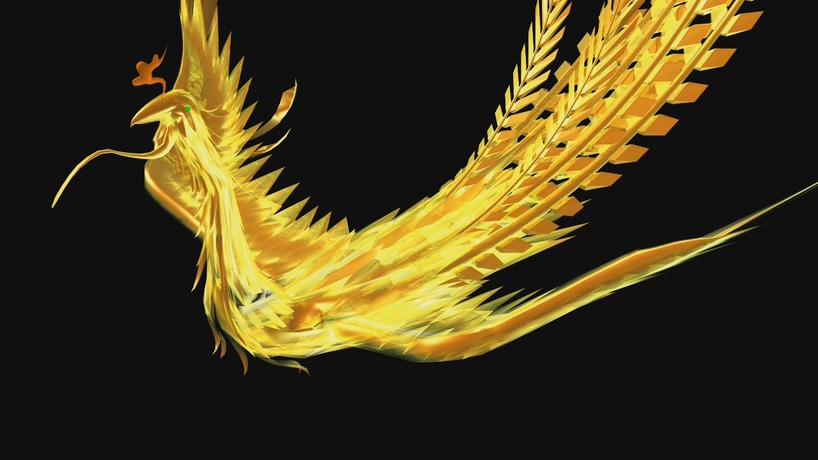 震撼大气的金色凤凰飞舞视频素材