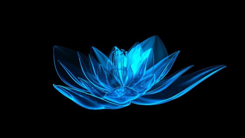 浪漫唯美的蓝色水晶莲花旋转视频素材