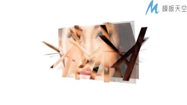 照片切片条纹碎片展示电子相册AE模板