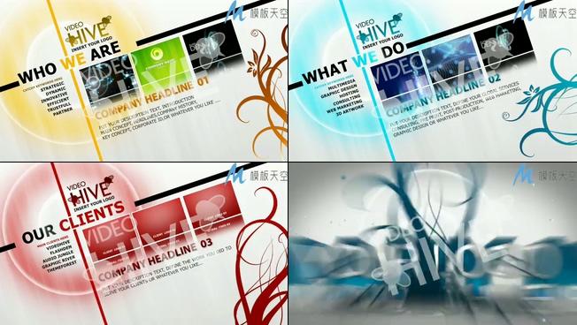 创意花纹企业图文宣传片视频AE模板