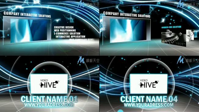 蓝色光效科幻公司宣传片头视频AE模板