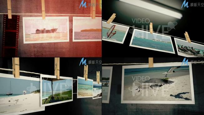 悬挂的旅游照片墙电子相册AE模板