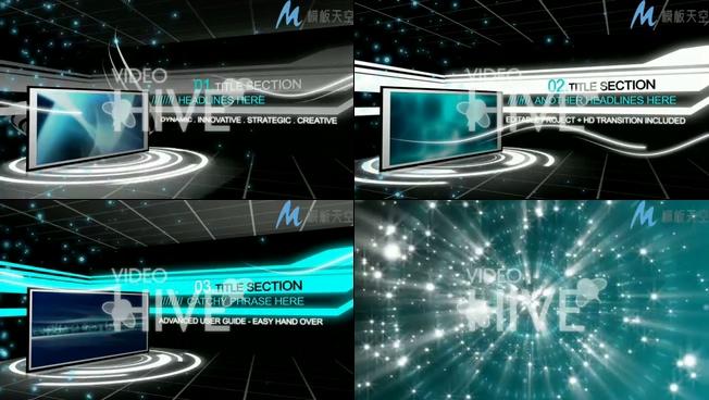 光效粒子科技节目抖音小视频AE模板
