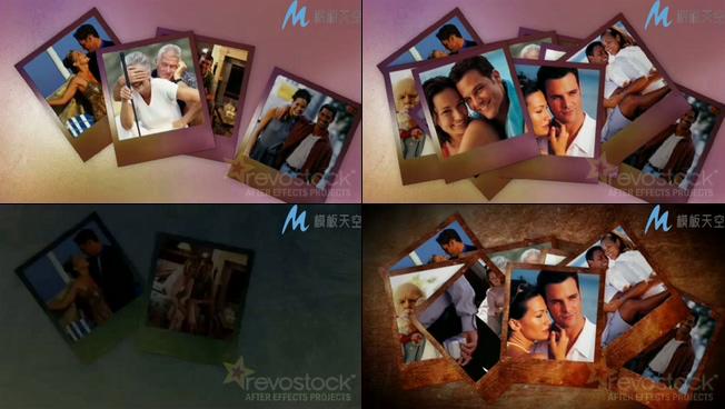 家庭旅游相册照片墙AE模板