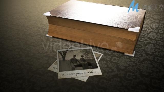 回忆过去历史书本翻页3D立体相册AE模板