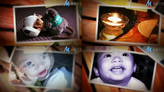 可爱宝宝成长记录照片墙相册AE模板