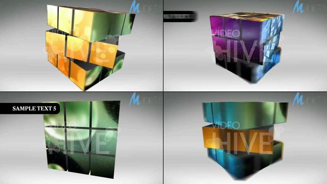 旋转的魔方标题照片特效AE模板