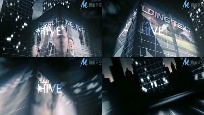 模仿电影大片摩天大楼上的LED大屏幕AE模板