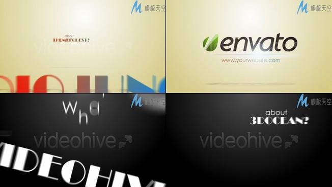 企业商务宣传片头创意弹跳文字AE模板