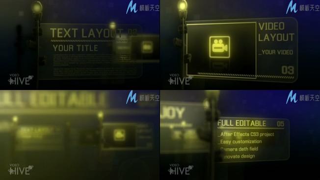 模仿街道指示牌展示文字AE特效模板