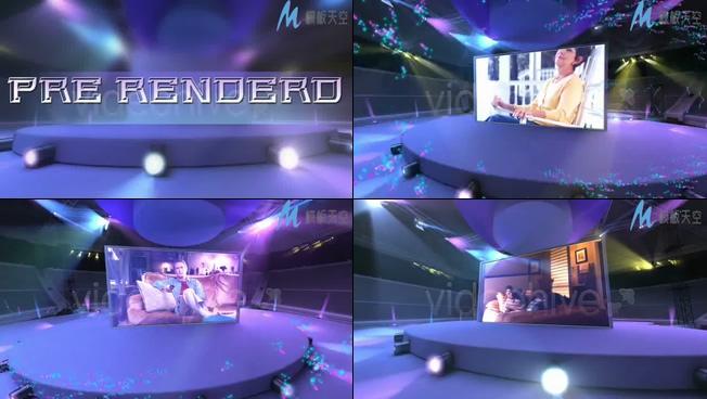 颁奖表彰视频之紫色舞台粒子特效AE模板