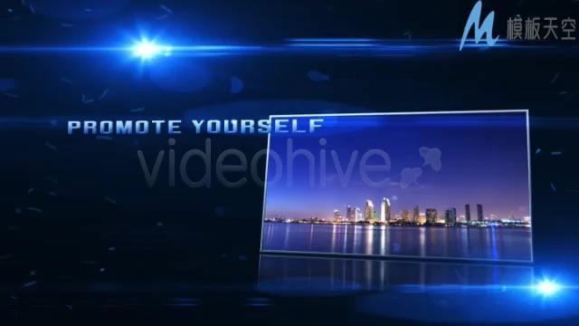晚会照片标题片头蓝色光晕AE模板