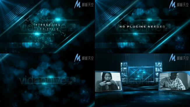 蓝色粒子企业文化展示晚会片头AE模板