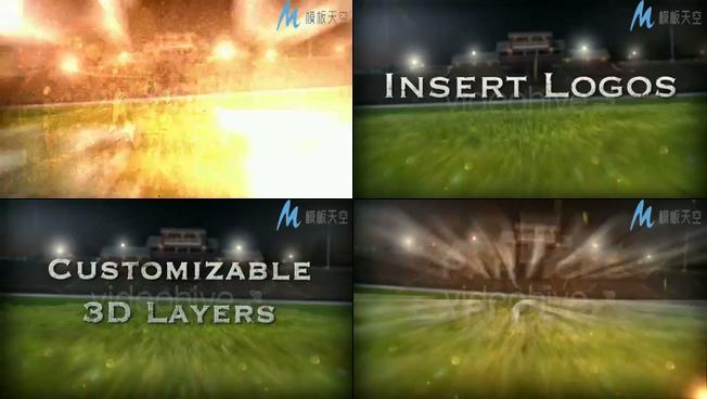 草坪上的文字特效世界杯足球宣传片AE模板