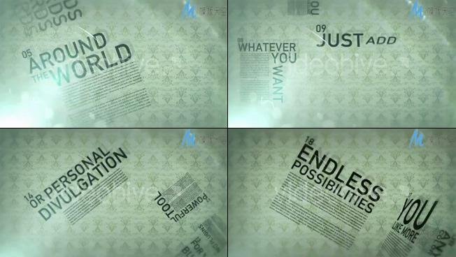 创意报纸类型文字宣传片AE模板