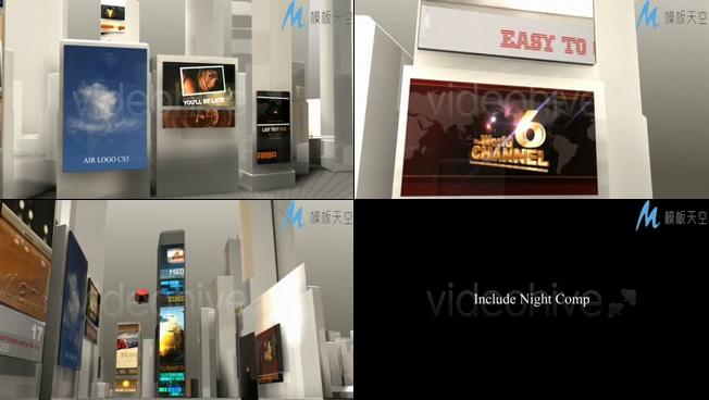 模仿城市大屏幕展示广告AE模板