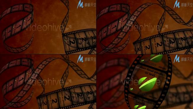 电影胶片旋转动态相册AE模板